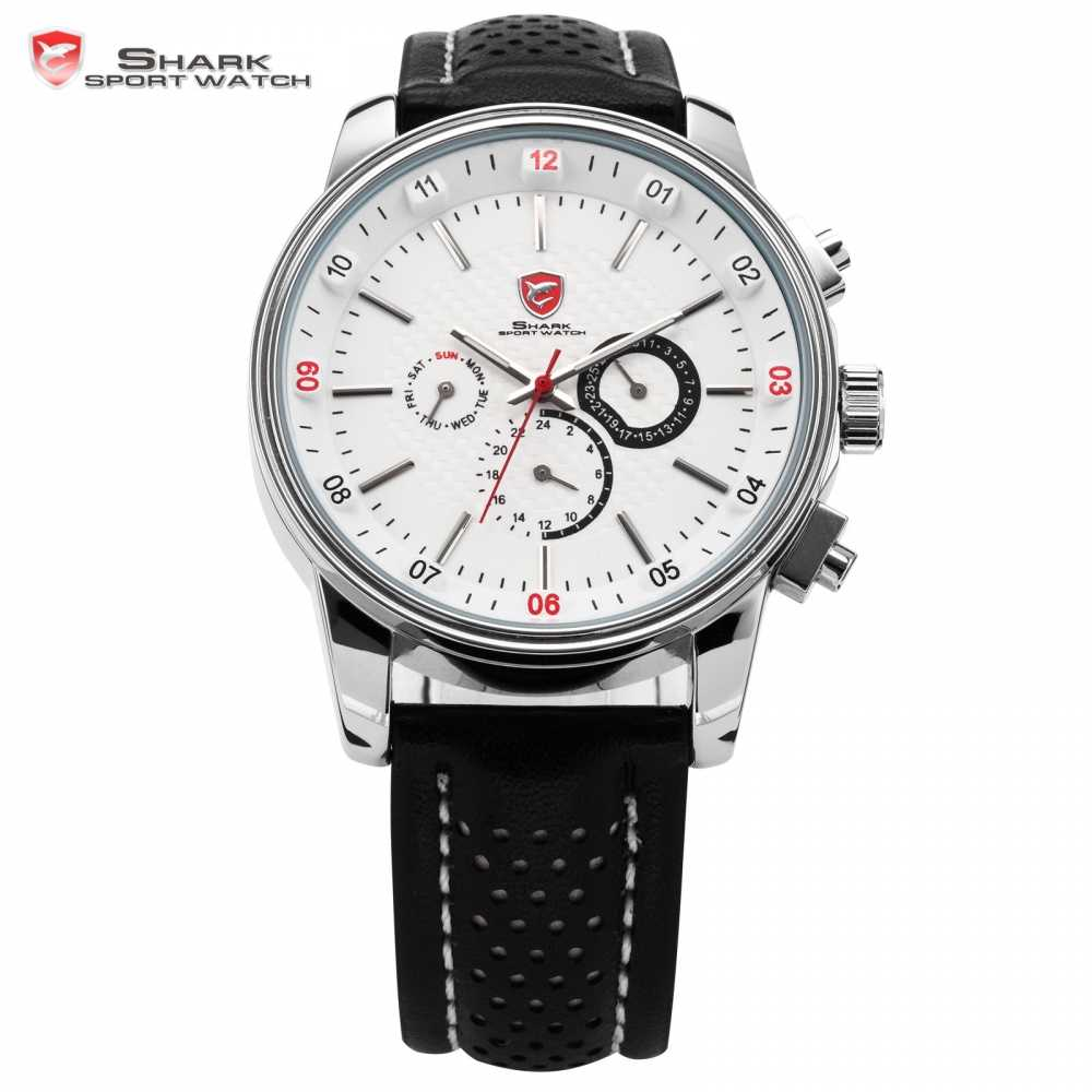 Brand SHARK Sport Watch for Men Date Day Calendar 6 Hands Stainless Steel Case Leather Strap White Quartz Orologio uomo / SH093