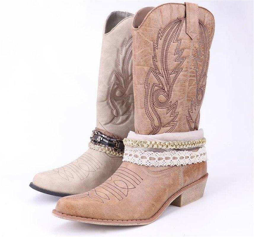 Top. damet Femmes Genou Haute Boot Cowboy Cowgirl Bottes avec Dentelle et Chaîne Décoration Western Chaussures Slip Sur Moto Bottes Femme