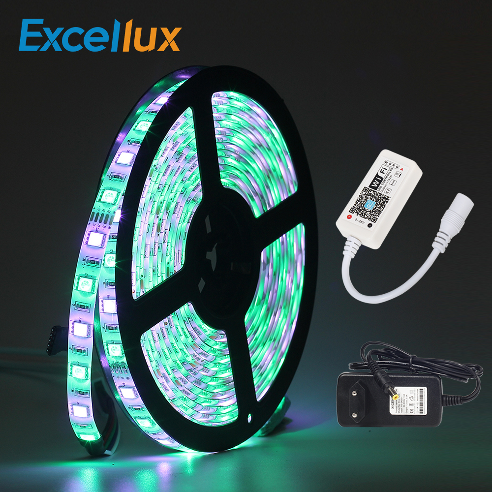 1SET 5050 RGBW led strip 5M 60leds ip20/ip65 Waterproof led strip MINI WIFI RGBW LED controller + 220V to 12V 3A power supply