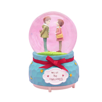 Romantic Couple With Lights Inner Turn Snow Crystal Ball Music Box Creative Crafts Gifts For The New Year Couple Gift Home Decor