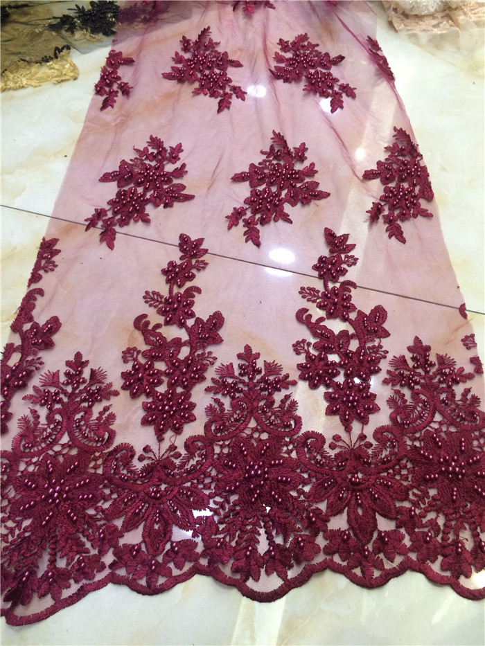 White African Lace Fabrics Black Gold Peach Pink Wine