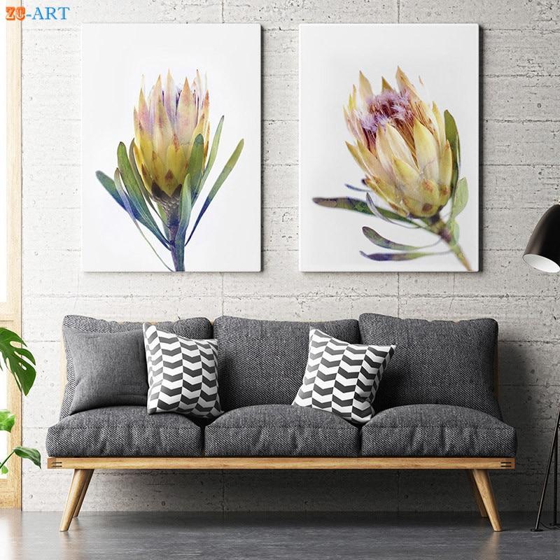 Watercolor Protea Print Yellow Flower Picture Australian