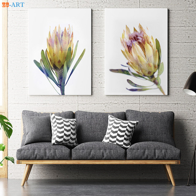 Watercolor Protea Print Yellow Flower Picture Australian Native ...