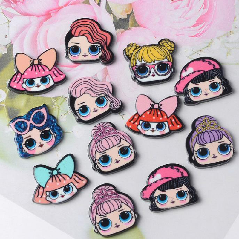 New Mix Resin Beautiful Girl Charms For DIY Mobile Phone Case Lollipop Pack 10PCS Mixed Planar Resin Big Eye Girl Decoration
