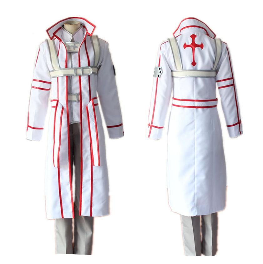 SAO Sword Art Online Kirigaya Kazuto White Uniform Cosplay Costumes Kirito Knights of Blood KoB Performance Cloak Outfits