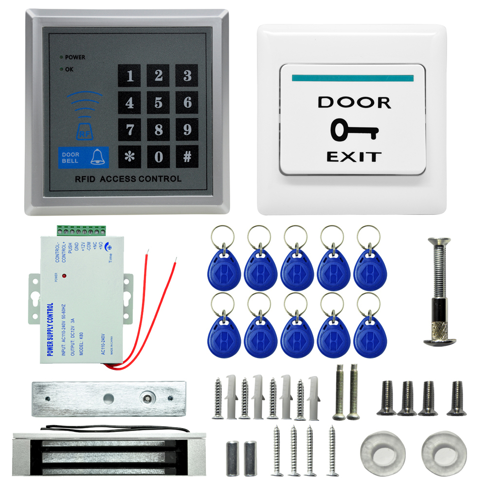New MJPT019 RFID Access Control System Kits+Magnetic Lock+10 Buckle Card+Power