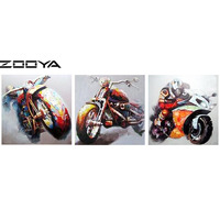 ZOOYA Diamond Embroidery 3d DIY Diamonds Painting Cross Stitch Wall Stickers Triptych Paintings Colorful Motorcycle Gift