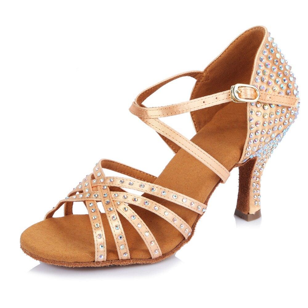 Nouveau Style professionnel salle de bal chaussures de danse latine/femmes chaussures de danse Salsa/strass chaussures de compagnie Salsa fête pour les filles