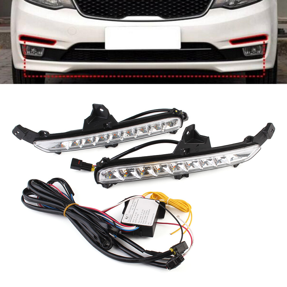 Auto Car LED Lights DRL Driving Daytime Running Light White Yellow Blue Turn Signal For KIA K2 2015-2016 Free Shipping D35 2pcs car led headlight kit led bulb d33 h11 free canbus auto led lamps white headlamp with yellow light fog light for citroen c4