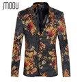 Mogu 2017 nova imprimir mens jaqueta blazer moda dois fecho de botão Mens Blazer De Veludo Plus Size M-5XL Slim Fit Blazer para Os Homens