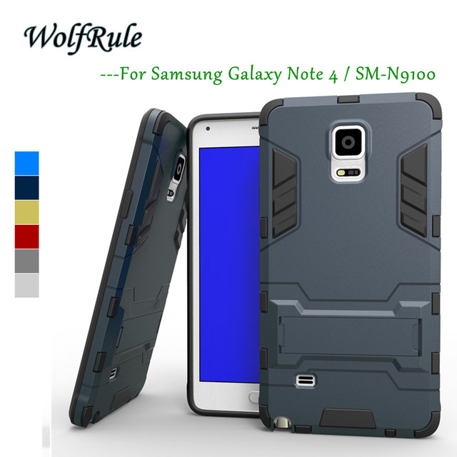 WolfRule Anti-knock sFor Phone Case Samsung Note 4 Cover Silicon+ Plastic Holder Case For Samsung Galaxy Note 4 Case Note4 N9100