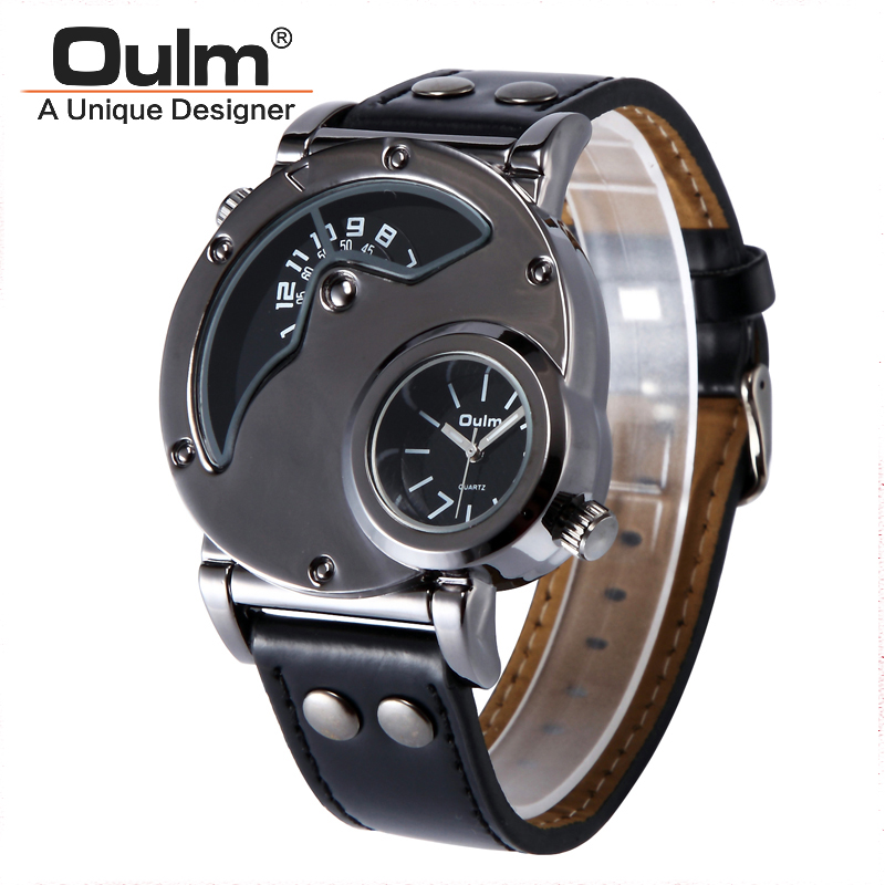 OULM 9591 Watches Russian Aviator Pilot Army Military Quartz Mens WristWatch Dual Time Black Leather Relogio Men's Watches Gift все цены