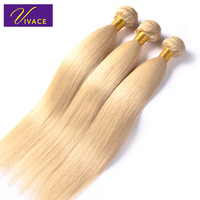 Vivace hair Blonde Remy Hair Bleached Natural Straight 3 Bundles Brazilian Human Hair Weft 12 26 inch