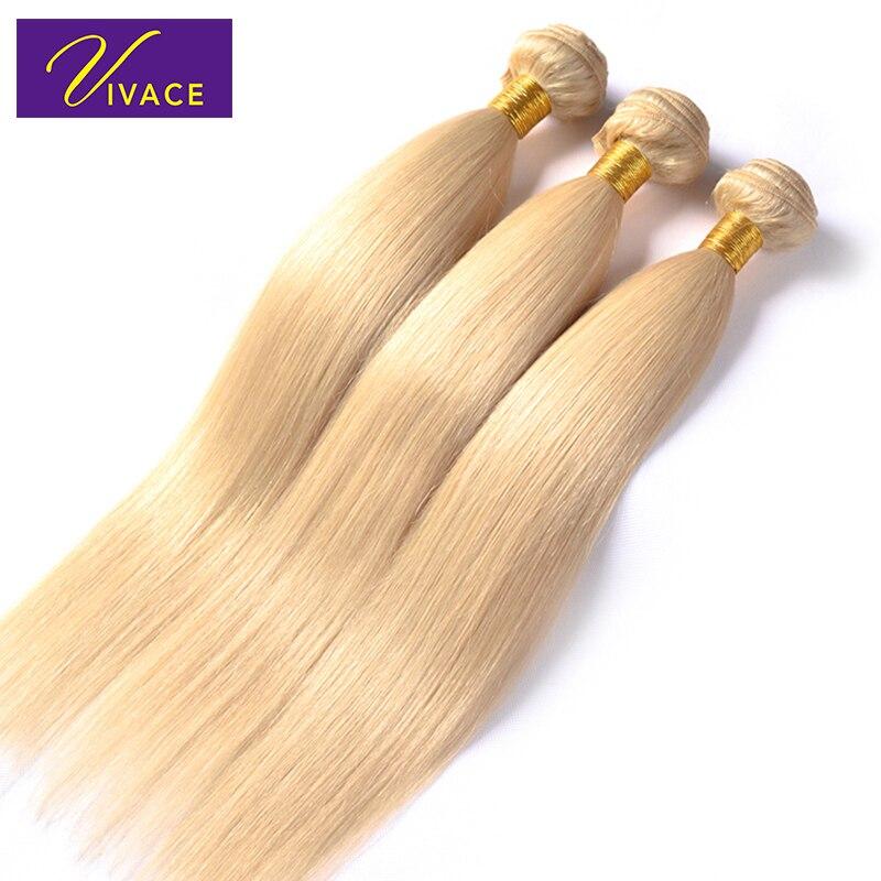 Vivace hår Blond Remy Hair Bleached Natural Straight 3 Bundles - Mänskligt hår (svart)