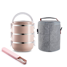 Bento-Box-Set Food-Container Stainless-Steel Japanese-Style Plastic Portable Kid Round