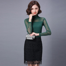 New Arrival Spring Autumn Women Long Sleeve High Neck See Through Sheer Mesh Shirts Night Club Sexy Tops