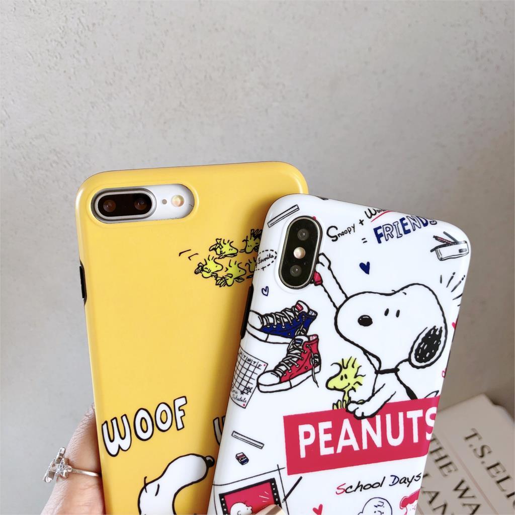 Cute Cartoon Snoopy Funda For Iphone X Case Matte IMD Phone Case For Iphone X XR XS Max 6 6S 7 8 Plus Cover Soft TPU Capa