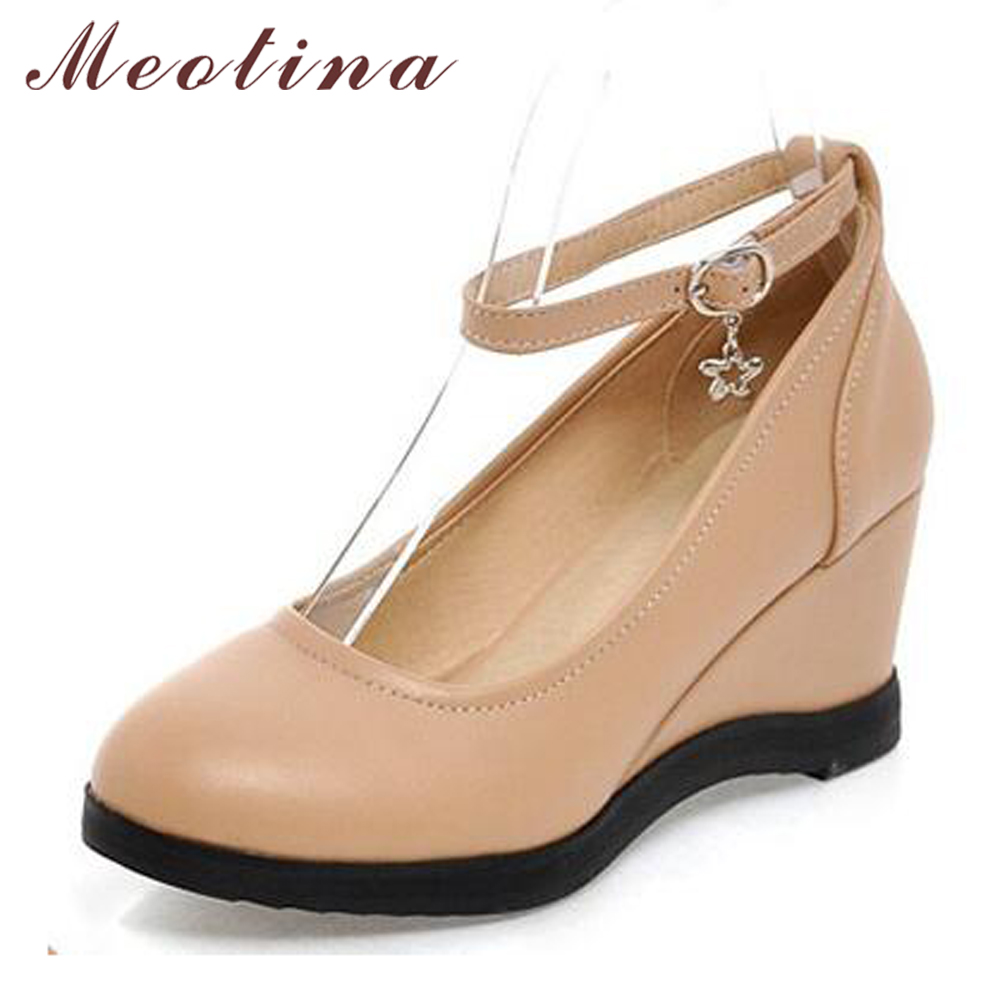 Meotina Women Shoes Autumn Round Toe Ankle Strap Platform Wedge Heels Sequined Causal Ladies Shoes Apricot White Size 34-39