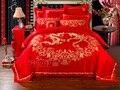 Tecnología de Bordado de Algodón 100% sistema del lecho 4 unids ropa de cama Rojo ropa de cama rey Edredón funda nórdica establece sábanas de Día de San Valentín