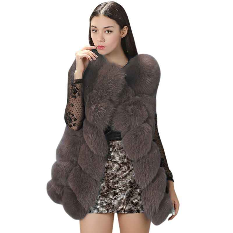 ecfdafbceea Plus Size Fur Coat Women Sleeveless Vest Black Red Grey Green Pink Blue Fur  Jackets Winter