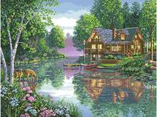 Top Quality Special Beautiful Lovely Counted Cross Stitch Kit Water Lake House Home Cottage Dimensions 35183 62X49CM 14CT