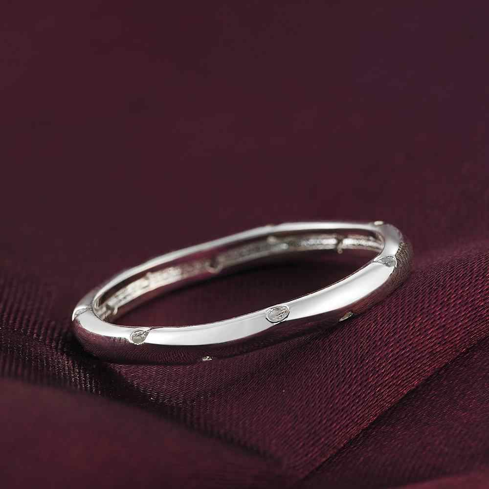 חתונה מסיבת תכשיטי נובל נשי קסם פשוט משובץ אבן עגול טבעת אופנה די כסף צבע תכשיטי LR023