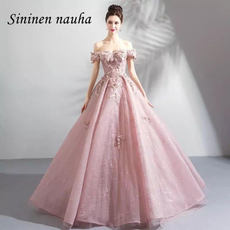 Rose Quinceanera robes épaule dénudée manches courtes perlée Floral robe De bal Vestidos De 15 Anos doux 16 robes 345