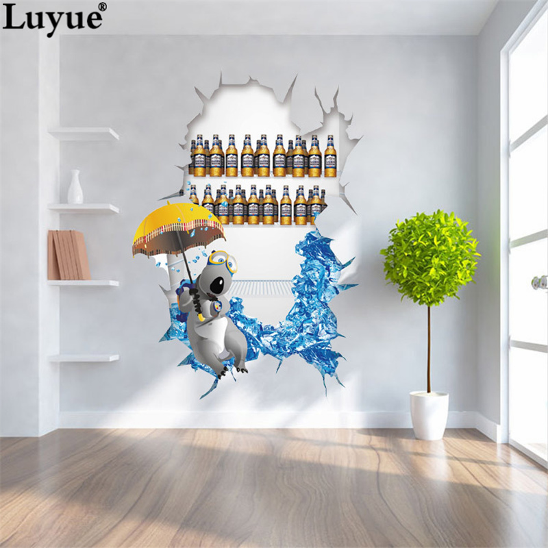 Hot! 3D Cartoon Refrigerator washing machine stickers Waterproof  Reovable Creative art paper stickers Home Decoration