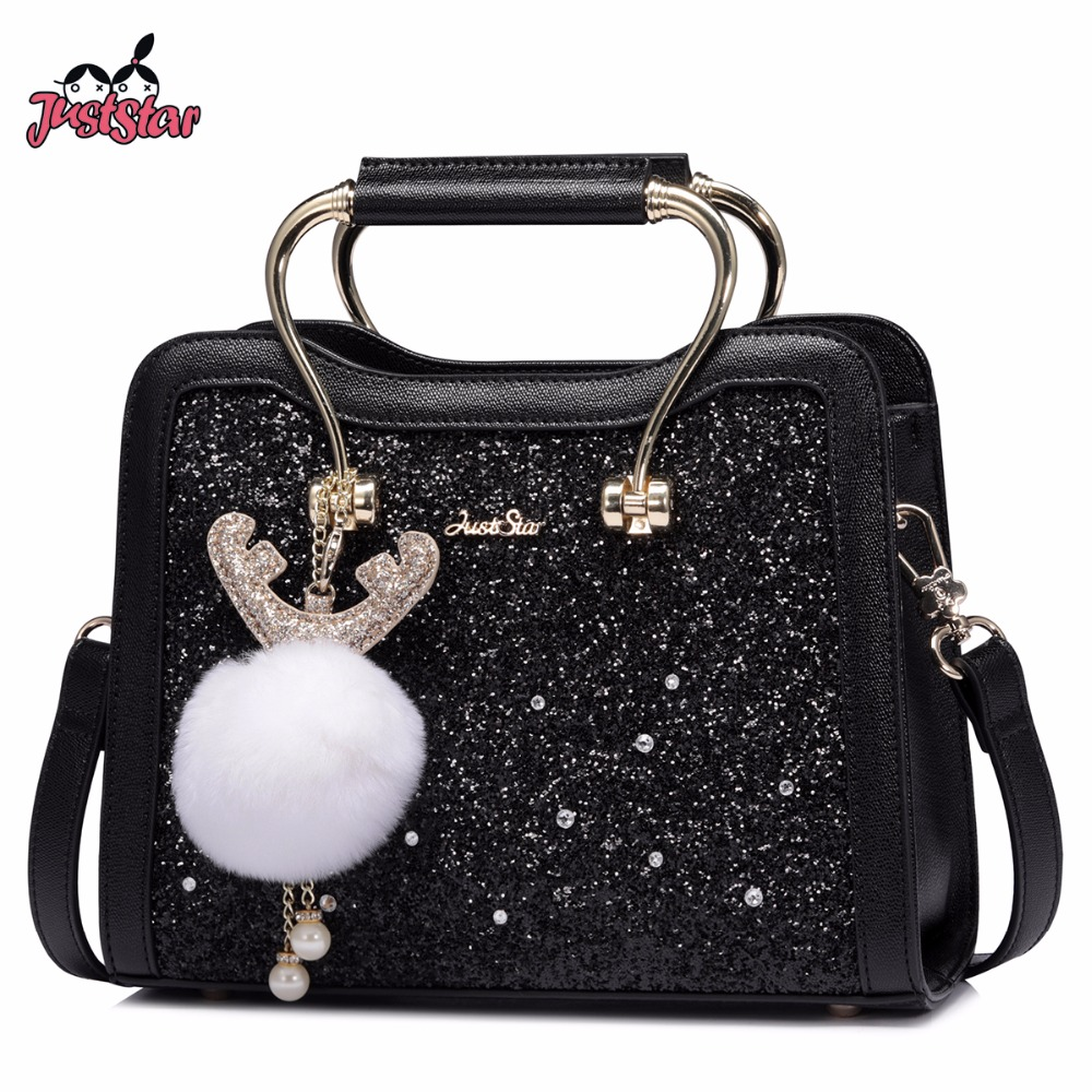 JUST STAR Women's PU Leather Handbag Ladies Cartoon Antlers Ornaments Tote Shoulder Purse Female Beading Messenger Bags JZ4573 just star women s pu leather handbag ladies cartoon cat embroidery tote shoulder purse female leisure messenger bags jz4492