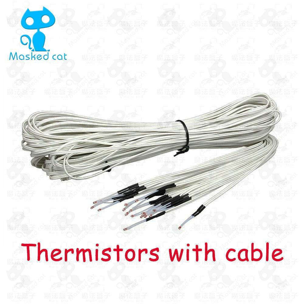 цена на 5pcs/lot 100K ohm NTC 3950 Thermistors Sensors with Cable 3D Printers Parts Temperature Part White 1M Line Accessories