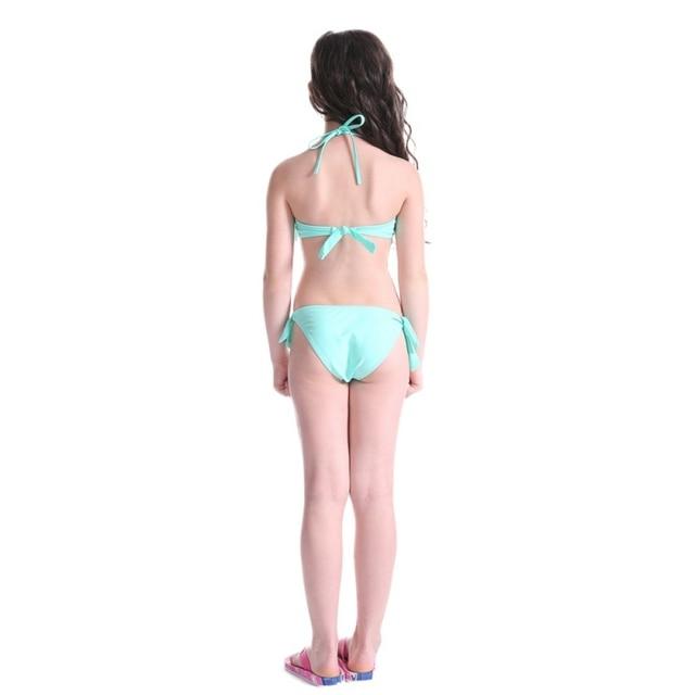 6fcc9f7b21 5~14 Y Girls Summer Cute Beach Bikini Swimwear Split Embroidery Bikini  Swimsuit for Teen