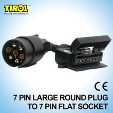 TIROL T21579b 7 Pin Plug Connector Trailer Boat Truck Car Adaptor 7 Pin Flat Socket to 7 Pin  Large Round Plug