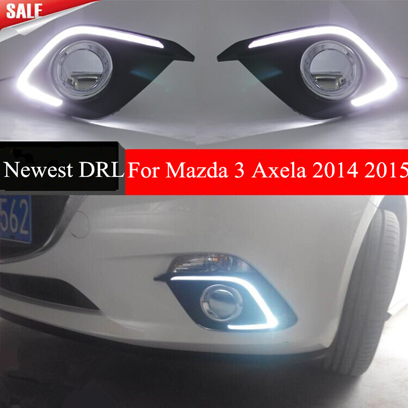 Turn Signal Light and dimming style Relay 12V LED car DRL daytime running lights with fog lamp hole for Mazda 3 axela 2014 2015 turn signal light and daytime running lights 12v waterproof led for mazda 3 axela 2014 2015