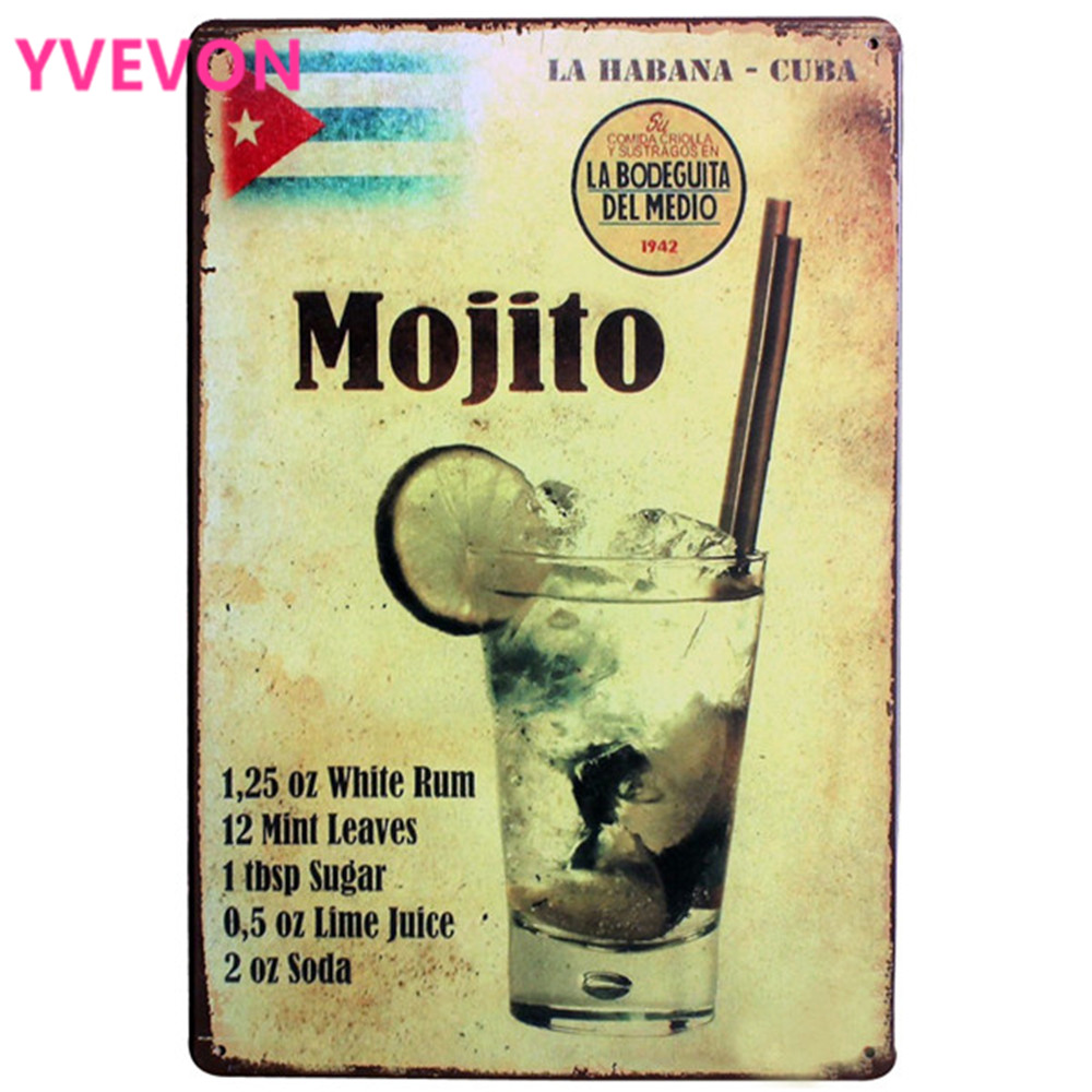 Mojito Drink Metal Decor Sign Vintage Plaque Cocktail Board för Hotel Music Bar Restaurang för wll art målning LJ3-6 20x30cm B1