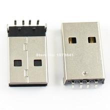 100 pièces par Lot USB Type A 4 broches mâle Angle droit DIP connecteur bricolage