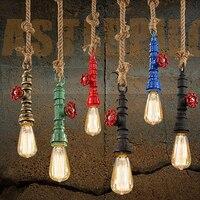 DIY Loft Retro Industrial Vintage Steampunk Water Pipe Colorful Pendant Lamp E27 Hemp Rope Light For