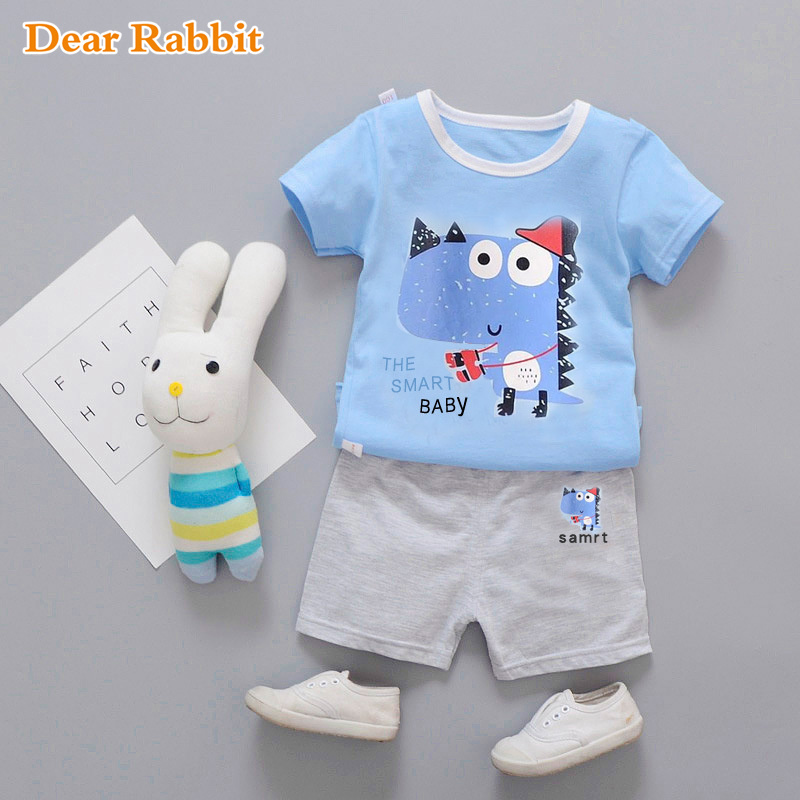 Baby boys Clothes Summer Cartoon Dino Boy Girl children Clothing Set Cotton Suits Short Plaid Infant Kids tracksuit bobo choses bobo choses пододеяльник