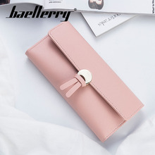 Baellerry Women Button Hasp Solid Porta Long Wallet Coin Pocket Card Holder Photo PU Leather Fashion