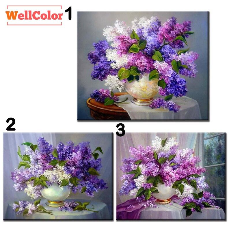 WELLCOLOR diamantmosaik blomma lila vase försäljning bild mönster 5D DIY diamant broderi pärla målning full uppsättning handarbete kit