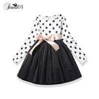 2018 Çocuk Bahar Sonbahar Için Shining Elbise Kız Uzun Kollu Yay Prenses Kız Okul Elbisesi Elbiseler Polka Dot Bebek Giysileri