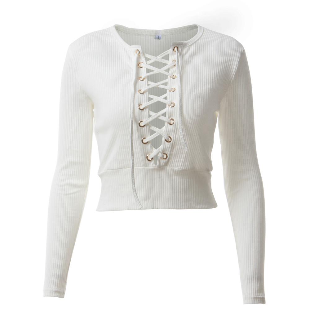 Nadafair Long Sleeve Laced Up Criss Cross Short T Shirt White Black Grey Khaki Casual Women Crop Top 3