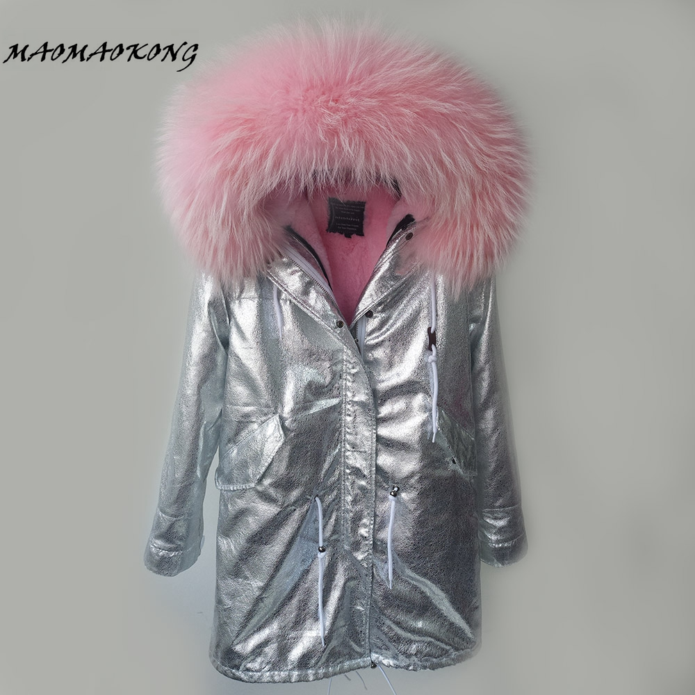 New 2017 Women Winter Coat Long Thick Fur silver color Parkas Real Raccoon Fur Collar Hood Jacket Drop Shipping 2017 winter new clothes to overcome the coat of women in the long reed rabbit hair fur fur coat fox raccoon fur collar