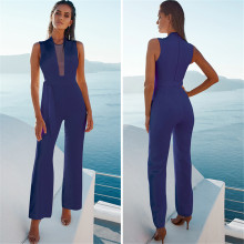New hot summer Italian solid color personality hollow sexy belt Slim temperament ladies jumpsuit