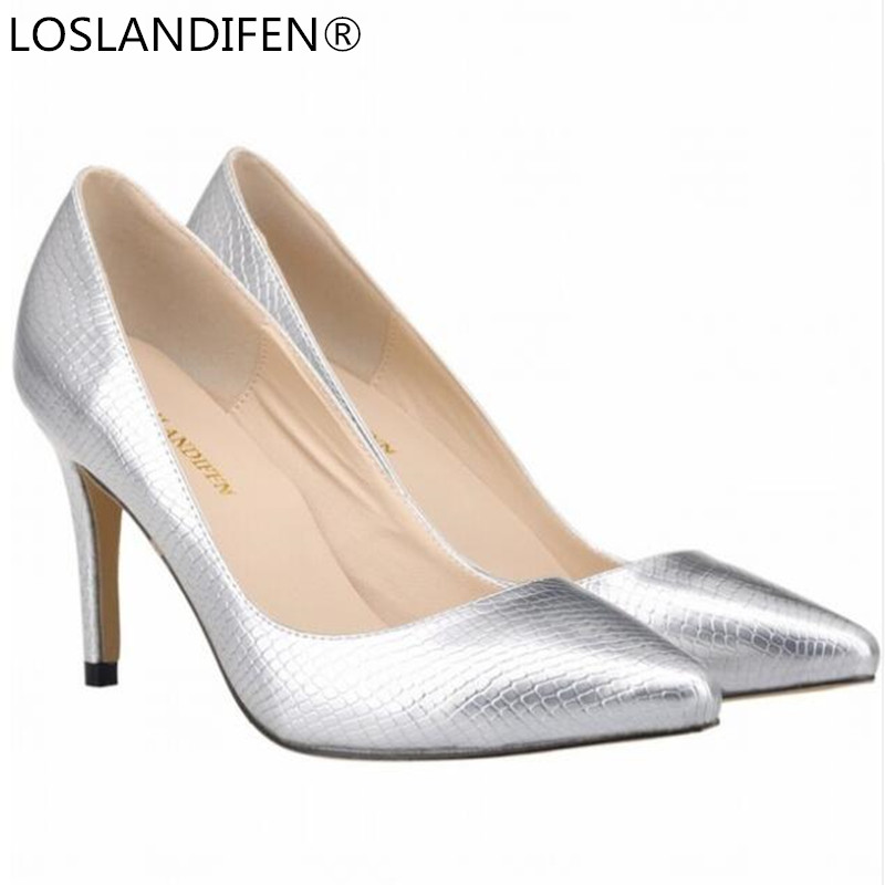 Women Pumps Serpentine Patent Leather High Heels PU Women Shoes Pointed Toe 8CM Thin Heels Silver Wedding Dress Shoes