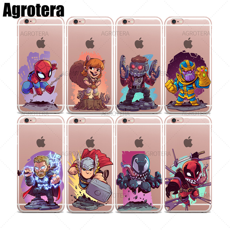 Agrotera Clear TPU Case Cover for iPhone 6 6s Thanos Thor Infinity War Venom Venompool Winter Soldier Wolverine Yondu image