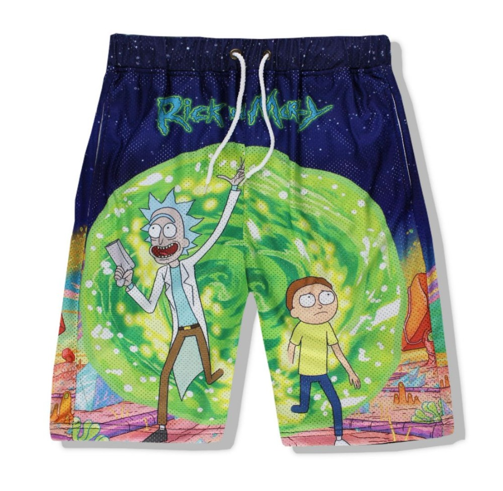 SzBlaZe Brand Casual Unisex Rick And Morty 3D Print Casual Shorts Breathable Summer Cartoon Print Mens Body Building Short Pant