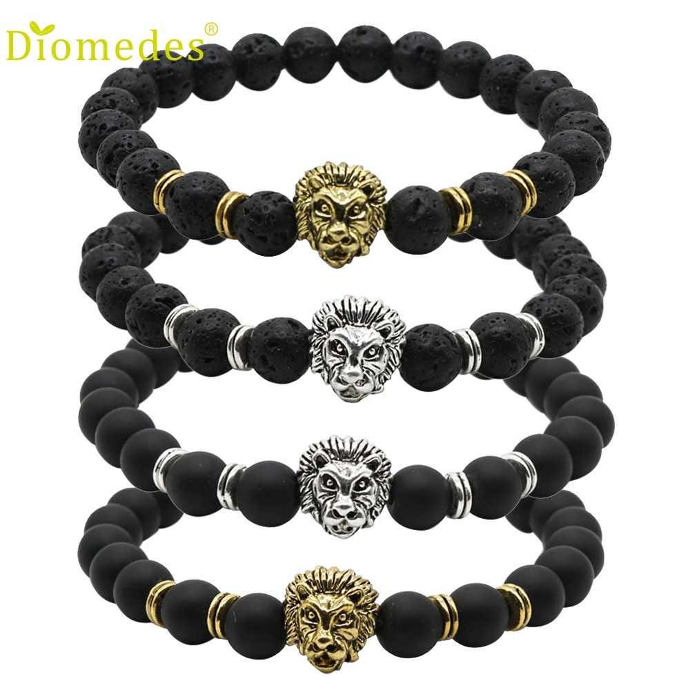 Diomedes 1PC Wholesale Buddha Leo Lion Bracelet Black Lava Stone Bead Bracelet Charm Leather Casual Bracelet #0222