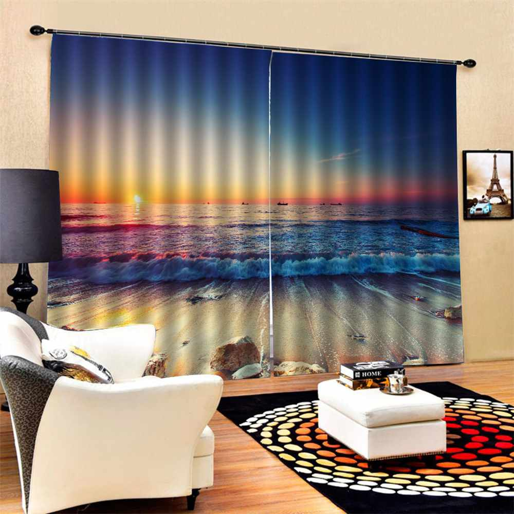 3D Sunset sea 9 Blockout Photo Curtain Printing Curtains Drapes Fabric Window US