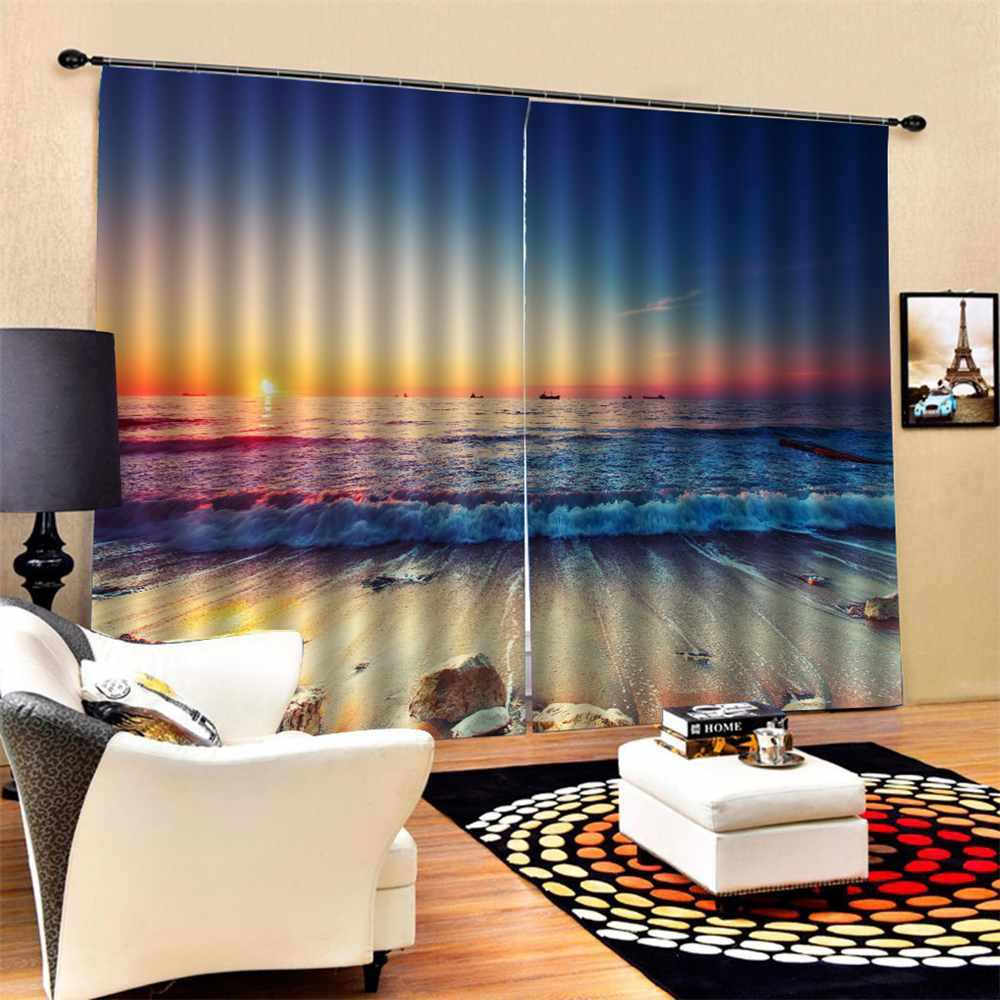 2Pcs/Set  Landscape window curtains for living room bedroom kitchen 3D blinds finished drapes blackout curtains