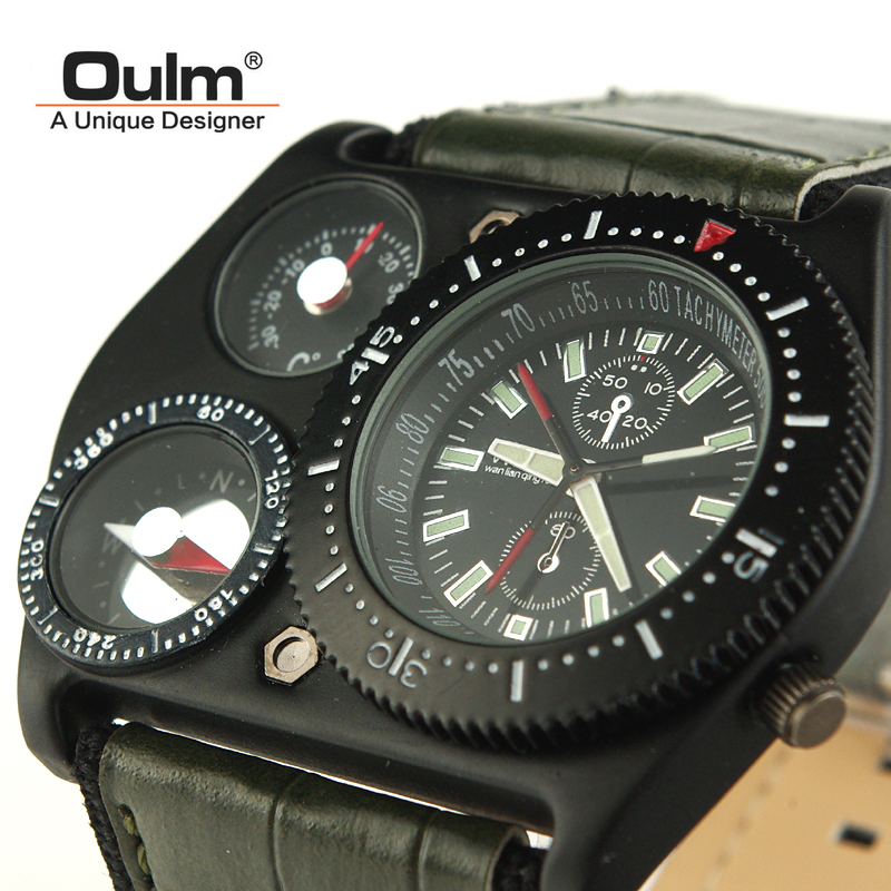 Oulm Men s Multifunction Clasual Wrist Watch 4094 Compass Thermometer Leather Pu Band Outdoor Quartz Watch